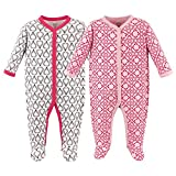 Hudson Baby Cotton Union Suit, 2 Pack, Boho, 0-3 Months (3M)