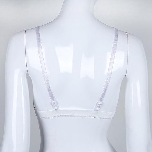LANSKIRT Sexy Lencería Sujetador sin Costuras con Encaje Floral Transparente de Mujer Sujetador sin Costuras con Copa Transparente Bralette Ropa Interior: ...