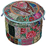 Stylo Culture Ethnic 18'' Cotton Patchwork Embroidered Fabric Pouffe Ottoman Stool Pouf Cover Green Floral Bean Bag Round Footstool Floor Cushion Cover Indian Decor