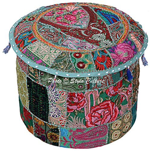Stylo Culture Ethnic 18'' Cotton Patchwork Embroidered Fabric Pouffe Ottoman Stool Pouf Cover Green Floral Bean Bag Round Footstool Floor Cushion Cover Indian Decor by Stylo Culture