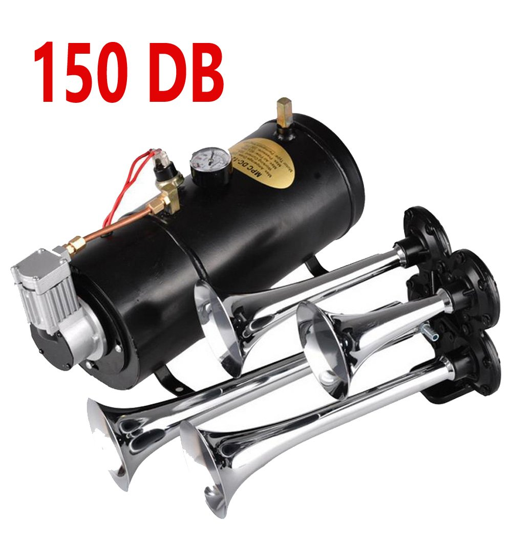 Etuoji Car 12V Air Compressor Train Powerful Horn Kit for Boat 4 Trumpets(US Stock , 100PSI) by Etuoji