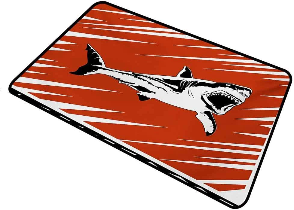shirlyhome Doormat Outdoor Shark for Entrance Way Indoor Washable Killer Sea Creature Swimming in The Ocean in Grunge Stylized Graphic Rectangle 31 x 47 inch Black White Burnt Sienna