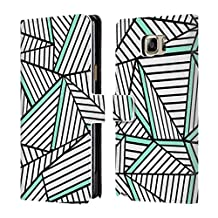 Official Project M White Mint Abstract Lines Two Tone Leather Book Wallet Case Cover For Samsung Galaxy Note5 / Note 5