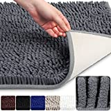 VDOMUS Soft Microfiber Shag Bath Rug, Extra Absorbent Comfortable, Anti-slip,Machine-Washable Large Bathroom Mat, 32'' x 20'', Grey