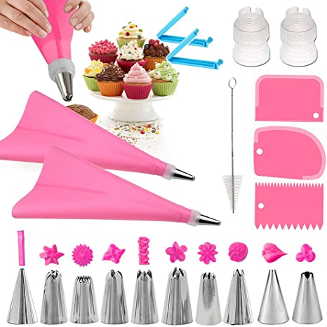 20PCS Cake Decorating Tool Piping Nozzles Pastry Bag Scraper Baking Supplies Set
