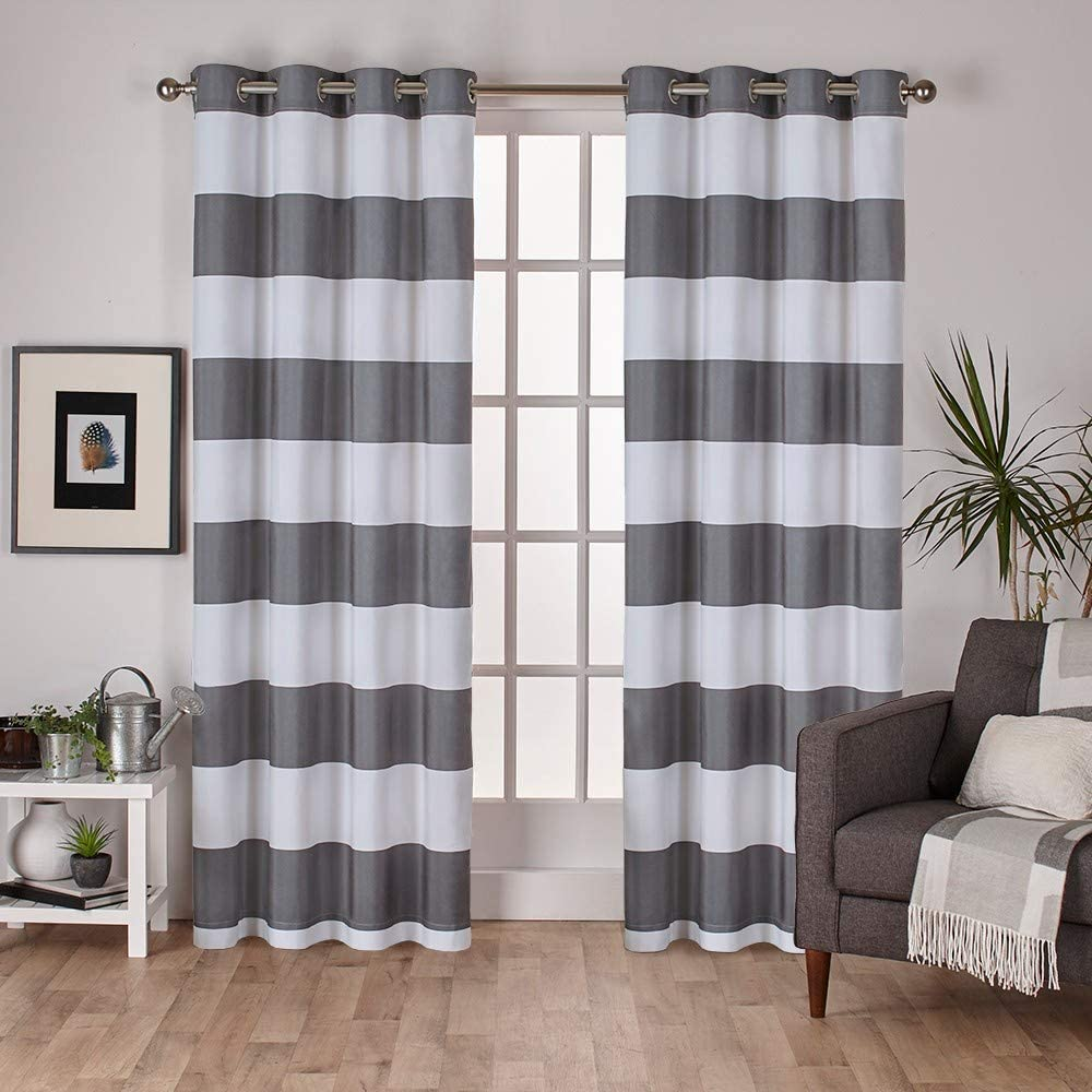 Exclusive Home Curtains Surfside Cabana Stripe Cotton Window Curtain Panel Pair with Grommet Top, 54x96, Black Pearl, 2 Piece