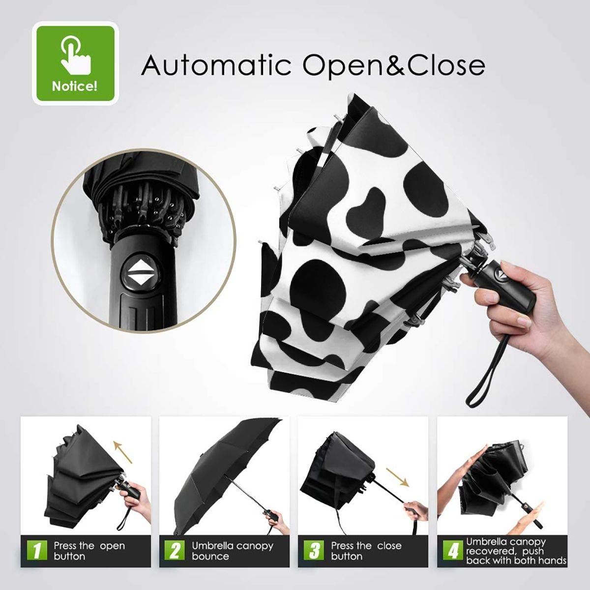 Cow Pattern Automatic Tri-fold Umbrella Novel Windproof Anti UV Rain//Sun Travel Umbrella Light Weight.