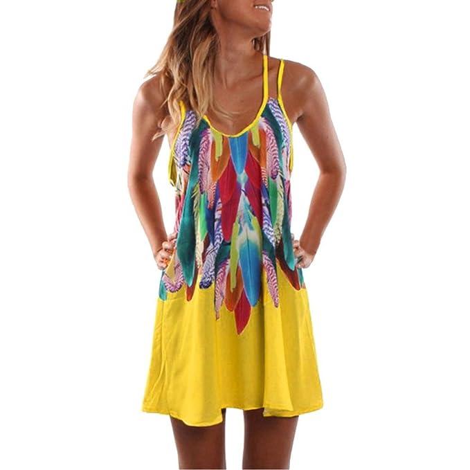 STRIR Vestido de Verano Cuello Redondo Sin Mangas Estampado Floral Casual Vintage Vestido Playa Sundress (