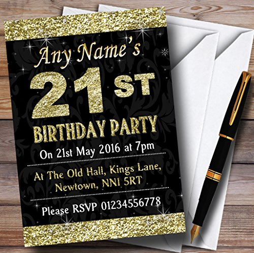 Glitter Look Gold 21St Birthday Party Personalized Invita...
