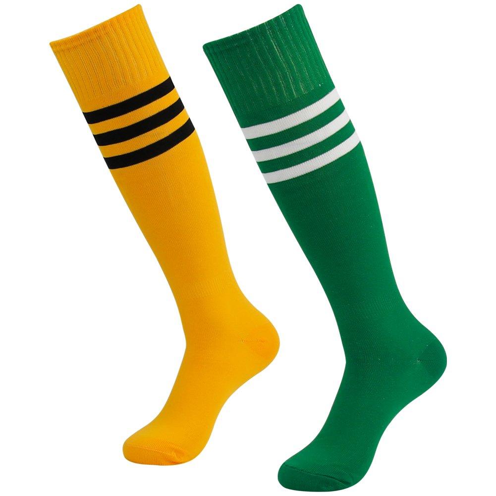 3street ユニセックス ニーハイ トリプルストライプ アスレチック サッカー チューブ ソックス 2 / 6 / 10組 B01IV476A8 Green+White Stripe&Orange+Black Stripe Green+White Stripe&Orange+Black Stripe