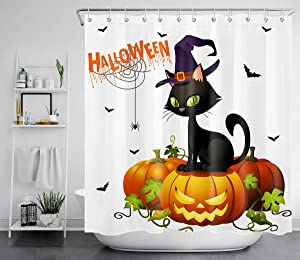LB Funny Halloween Shower Curtains Spider Web Bats Black Cat with Magic Hat Standing on Ghost Pumpkin Bathroom Curtain for Kids 72x72 Inch Waterproof Polyester Fabric with 12 Hooks