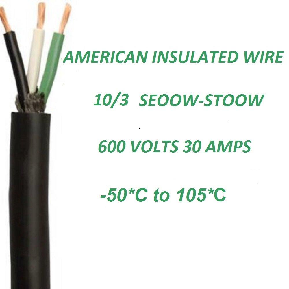 Wire, 10/3, 150 Feet, Seoow, Stoow, 10 Gauge, Electric, Cord, 600 ...