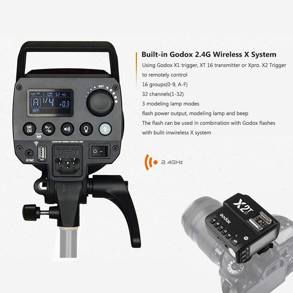 Godox MS200 Studio Flash Strobe Monolight 200Ws GN53 5600K Built-in 2.4G Wireless X System 0.1-1.8s Recycle Time X2T-C E-TTL II Wireless Flash Trigger for Canon DSLR Camera