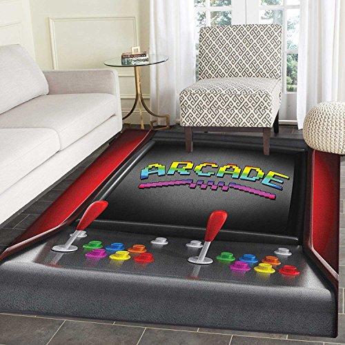 Video Games Print Area rug Arcade Machine Retro Gaming Fun Joystick Buttons Vintage 80s 90s Electronic Indoor/Outdoor Area Rug 3'x4' Multicolor ()