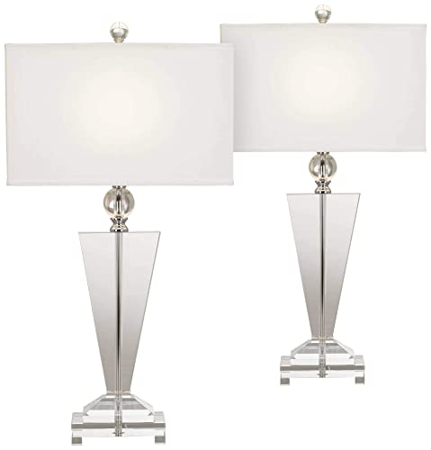 Modern Table Lamps Set of 2 Art Deco Crystal Trophy Off White Rectangular Shade for Living Room Bedroom – Vienna Full Spectrum
