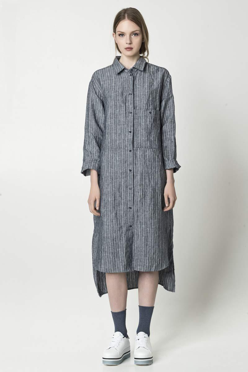 a964ff31a2f Amazon.com  Loose linen shirt dress with pockets