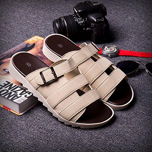 Xing Lin Sandalias De Hombre Tendencia De Verano Sandalias Flip-Flop Atar El Cordón Zapatillas Zapatillas Nuevas Zapatillas De Playa De Moda Zapatos Zapatos De Hombre 43082 Albaricoque