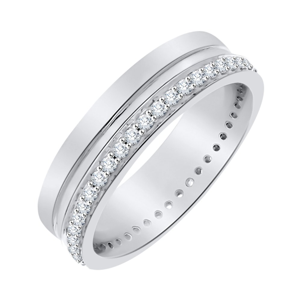 Diamond Eternity Band in Sterling Silver (1/2 cttw) (I-Color, SI3-I1 Clarity) (Size-7)