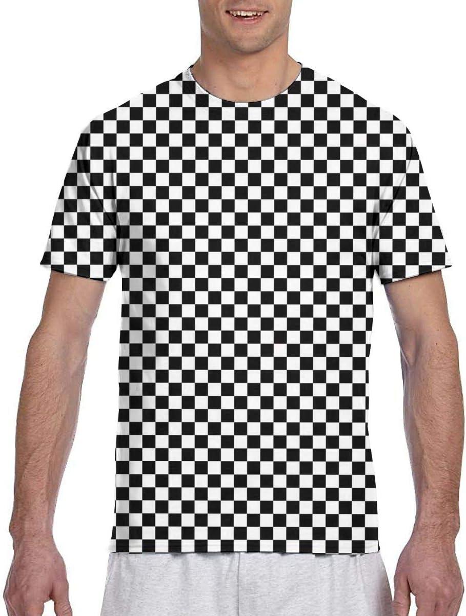 CarolJenkins 3D Checkerboard Pattern Men Short Sleeve tee Sports T ...