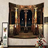 Gzhihine Custom tapestry Gothic House Decor Tapestry Dark Mystic Ancient Hall with Pillars and Christian Cross Dome Shrine Church for Bedroom Living Room Dorm 60 W X 40 L Red Brown and Black