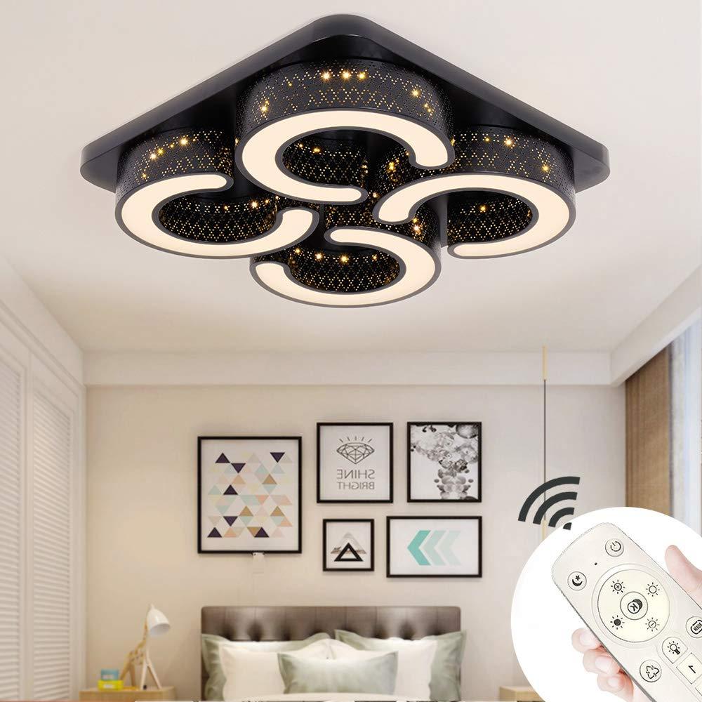 Dimmbar:3000K-6500K MIWOOHO 110W LED Deckenleuchte Dimmbar Modern Deckenlampe Wandleuchte Schlafzimmer Wohnzimmer Leuchte mit Fernbedienung