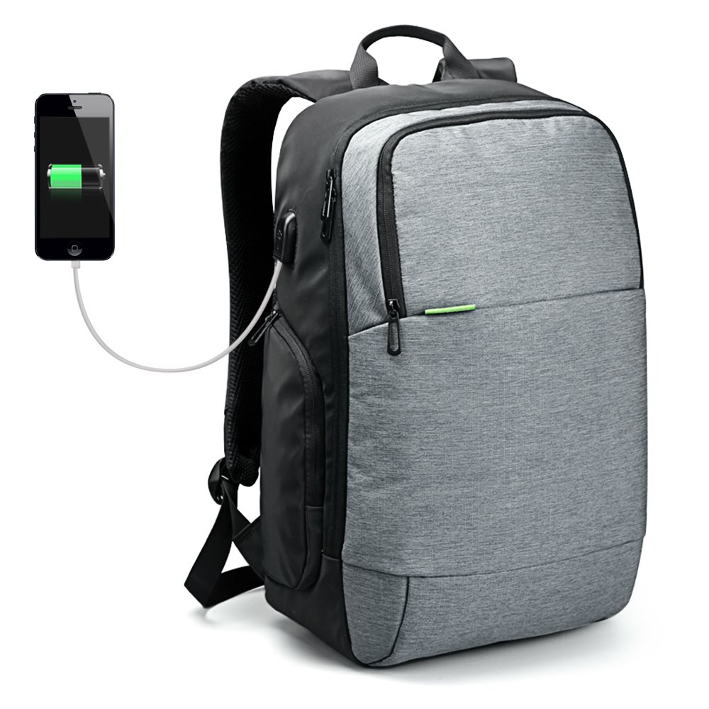 USB Charge Laptop Backpack,MultipurposeAnti-Theft Durable Travel Hiking Sports School Bags, 15.6 inch Laptop Bag,Casual Daypack, Business,Outdoor Rucksack (Grey) by iCozzier (Image #6)