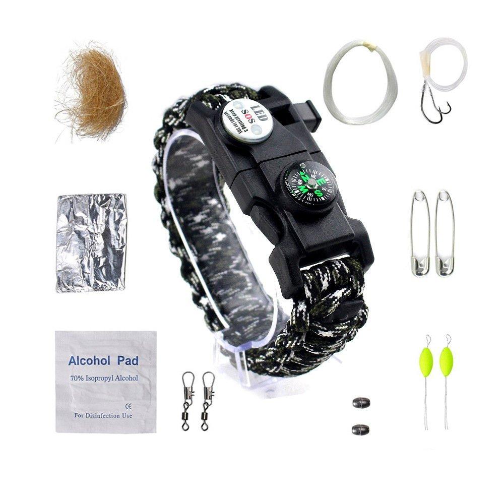 LBAFS All'aperto Sopravvivenza Multifunzione Tool Kit Paracord Bracciale Accessori Pesca Set per La Pesca Escursionismo Campeggio Emergency,D