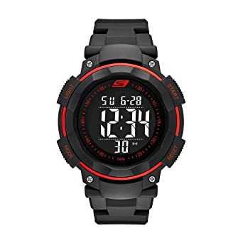 Skechers Mens Ruhland Quartz Plastic and PU Digital Watch Color: Black, Red (Model