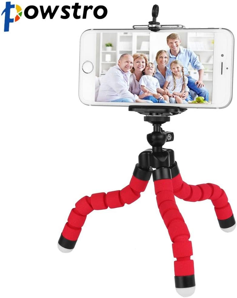 blue Powstro Mini Flexible Tripod Phone Holder Cell Phone Bracket for iPhone Cellphone DSLR Camera