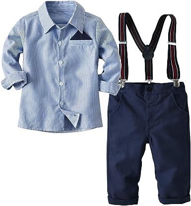Fairy Baby Camisa de Fiesta de Caballero de Traje Formal de Caballero de 2 Piezas + Pantalones de Liga: Amazon.es: Ropa y accesorios