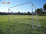 EGO BIKE 12' x 6' Soccer Goal With Net,Clips, Anchor Large Soccer Goal Sports