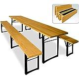 Ensemble table et bancs 3 pieds pliants 220 cm pour jardin terrasse fête