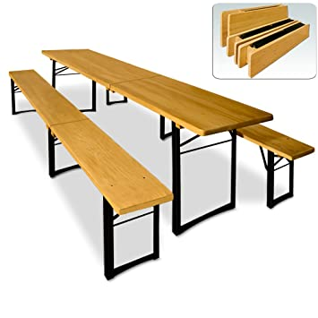 Wooden Trestle Beer Table And Bench Set Folding Outdoor Dining Camping Party Furniture