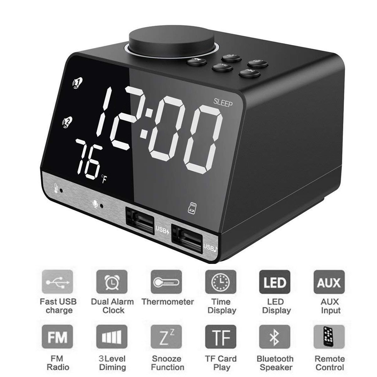 Foreita Digital Alarm Clock, Bluetooth Speaker with Dual Snooze Clock USB Charging Port, AUX TF Card Play, Thermometer, Large Mirror LED Dimmable Display for Bedroom, Kitchen, Table, Desk by Foreita