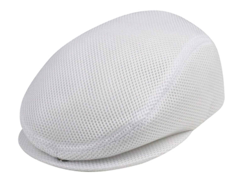 G Women's Polyester Mesh Newsboy Elastic Ivy Cap White