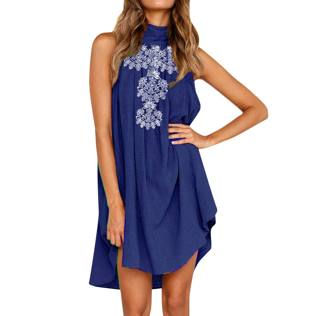 Women's Sleeveless Elegant Dress Halter Print Summer A-line Evening Party Beach Holiday Mini Dress