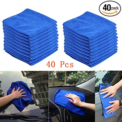Car Wash Towels Blue - 10 pcs Transer Microfiber Clean Cloth Wipes for Car Auto Interiors /& Exteriors Cleaning 10 Pcs