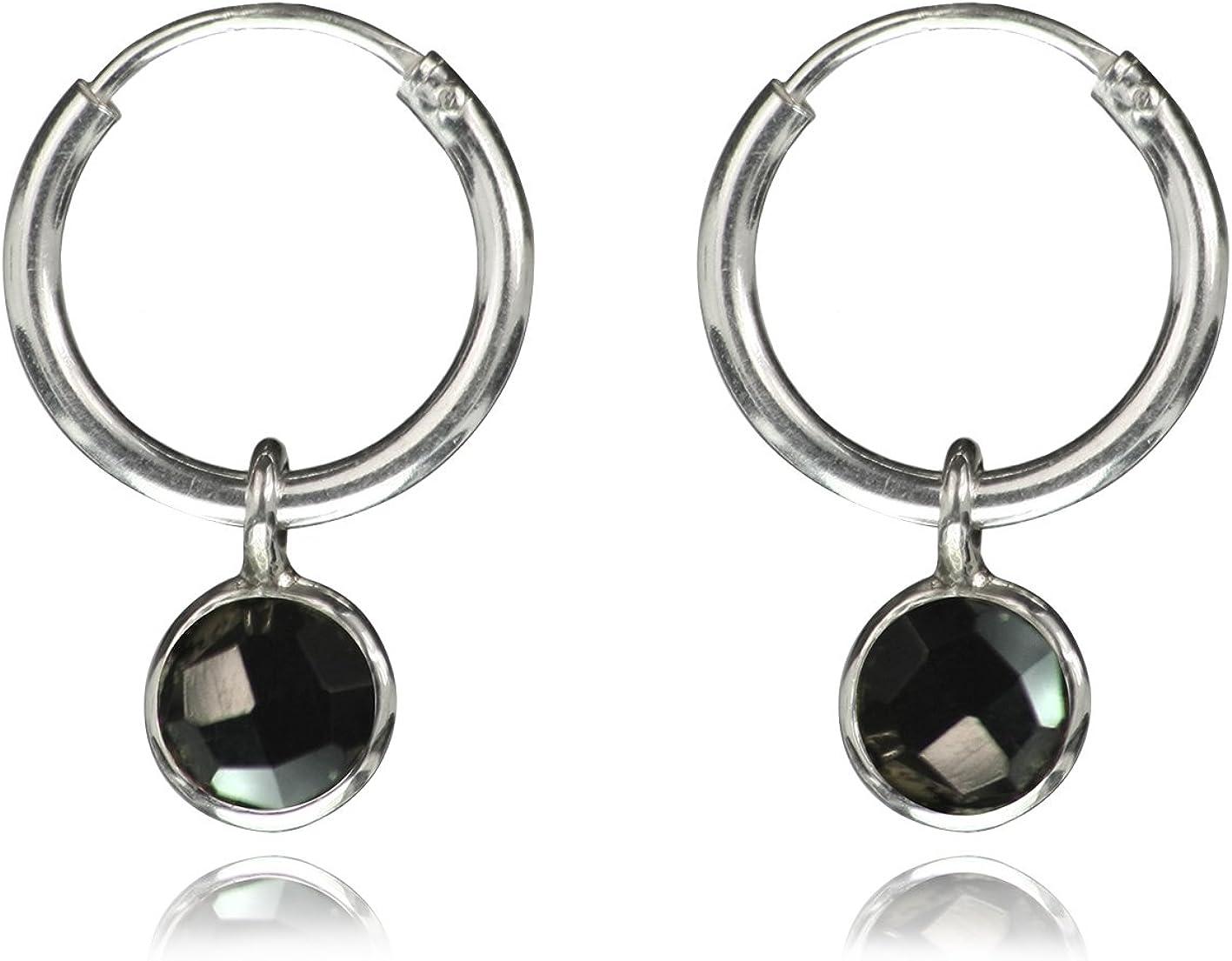 The Jewellery Store London - Pendientes De Aro Con Colgante De Ónix Negro, Plata De Ley 925, Sin Níquel