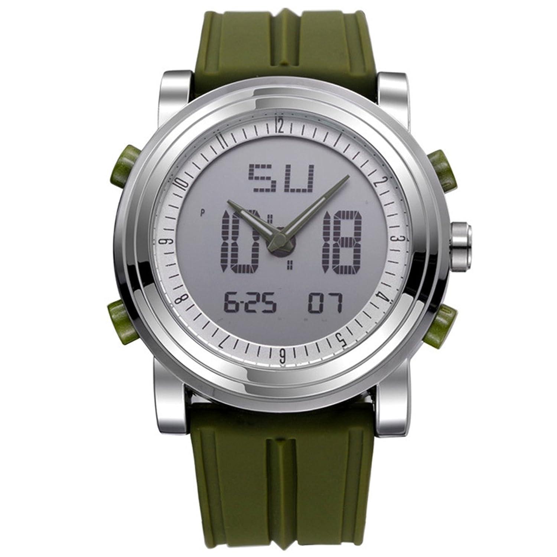 ファッションメンズクォーツ腕時計Luxuryシリコンストラップカレンダーアナログ&デジタルミリタリー腕時計 B01NCLH0VL