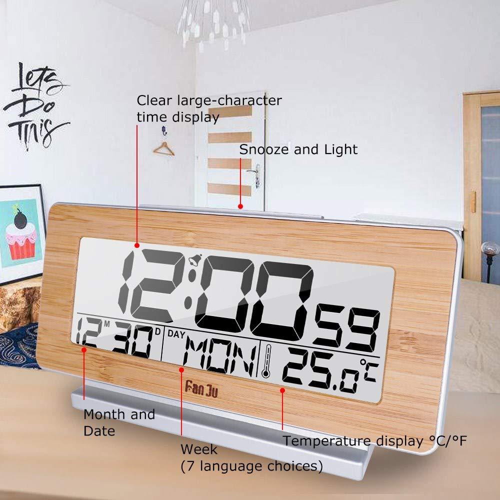 4 Pack, Reloj de Alarma Digital LED 12H / 24H Alarma y Despertador Función termómetro Retroiluminación Relojes de Mesa de Escritorio,, Halloween, ...