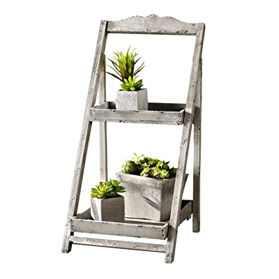 26 in. Tall Foldable Wooden Plant Stand for Outdoor or Greenhouse, Two Shelves - Medium Product SKU: GD221635 : Garden & Outdoor