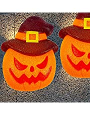 Twinkle Star 2 Pack Halloween Porch Light Covers, Decorative Jack-o-Lantern Porch Lamp Shade Cover for Indoor Outdoor, EVA Sparkling Pumpkins Ornament, Party Haunted House Door Wall Lamp Decoration