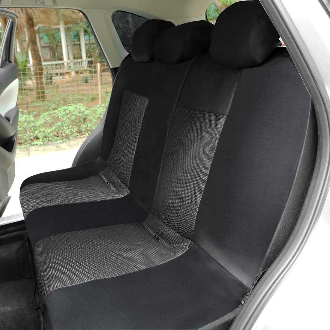 uxcell Universal Front Rear Seat Cover Cushion Mat Protector Compatible for Car SUV Truck Black Gray Polyester Mesh PU Leather 8pcs
