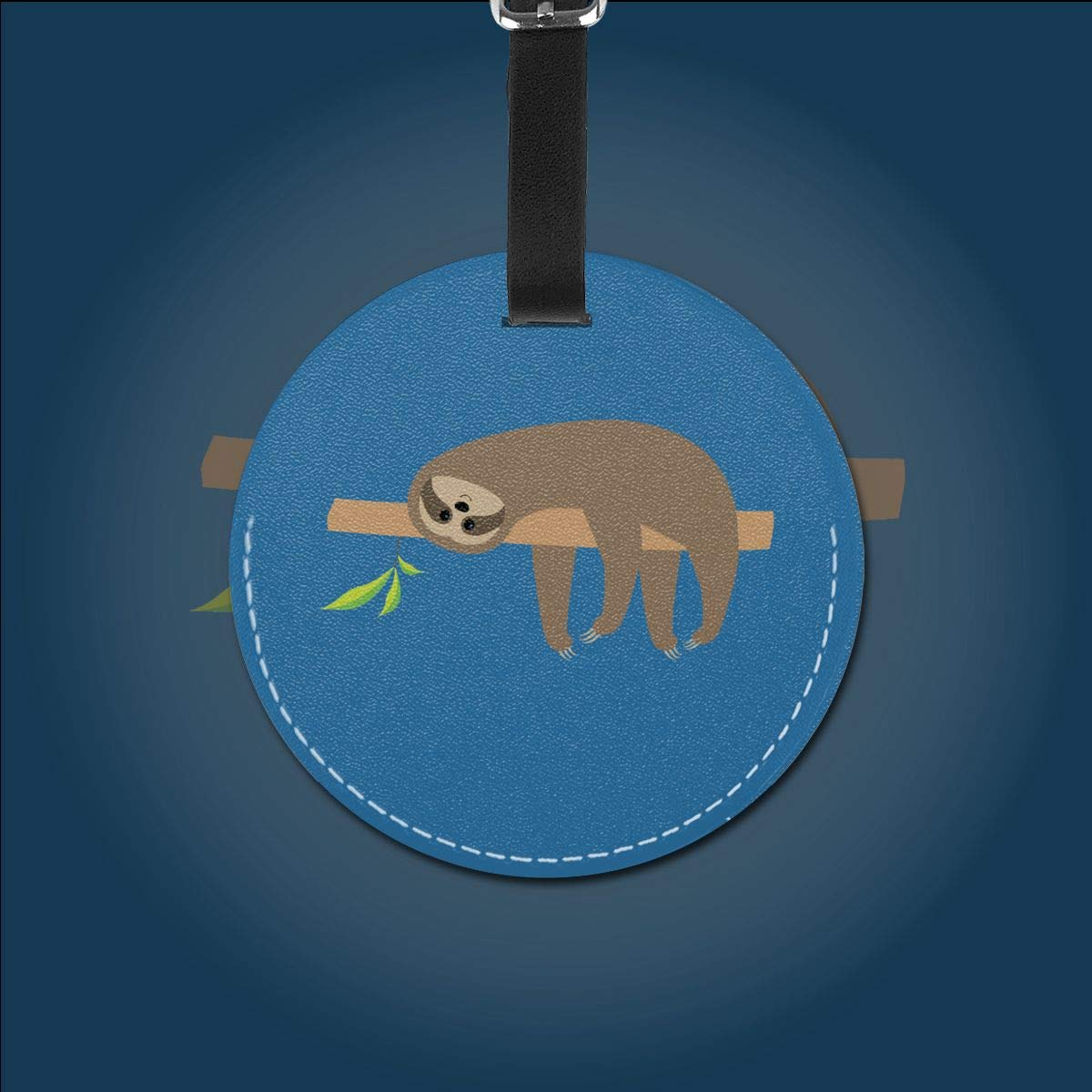 1pcs,2pcs,4pcs Sloth Lying On Tree Branch Cute Pu Leather Double Sides Print Round Luggage Tag Mutilple Packs