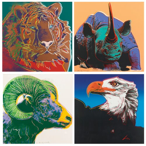 NAVA 4pcs Pop Art Andy Warhol Rhinos Eagle Tiger Ram Endangered Animal Canvas Poster