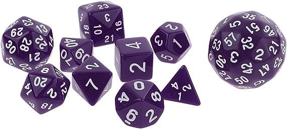 Set de 10 Piezas Dados de Varios Lados para Juegos de Mesa Mazmorras y Dragones Juegos de MTG RPG - Púrpura: Amazon.es: Juguetes y juegos