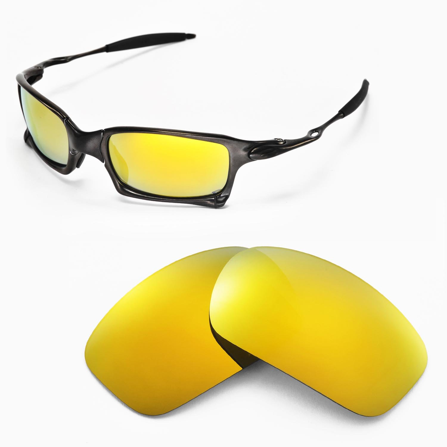 ae84d56aa9 Amazon.com  Walleva Replacement Lenses for Oakley X Squared Sunglasses -  Multiple Options Available (24K Gold Mirror Coated - Polarized)  Sports    Outdoors