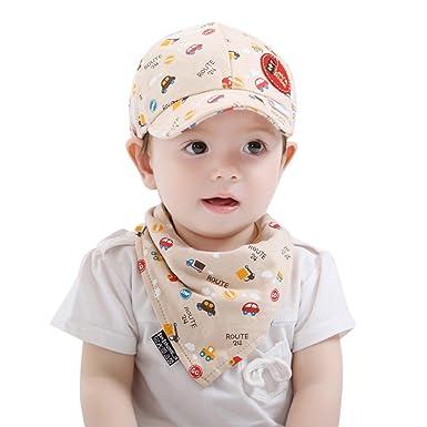 f6f5e1b909d Xshuai for 3-24 Months Kids 2PCS Toddler Infant Baby Boys Girls Cartoon Hat  Car Print Cap Baseball Cap + Pinafore Bib Set Outfit (Beige)  Amazon.co.uk   ...