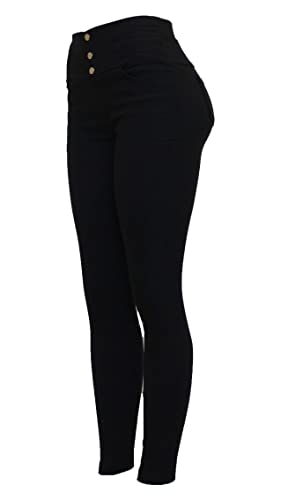 29130706d57c5c New Womens Thick Stretchy Black Skinny Fit Double/Four Zip Jean Style Pull  Up Jeggings Leggings: Amazon.co.uk: Clothing