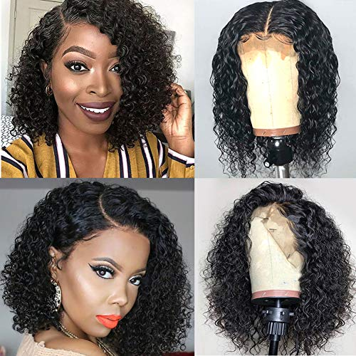 Ugrace Hair Brazilian Virgin Human Hair Wigs Short Curly Bob Wigs 13x4 Glueless Lace Front Wigs With Baby Hair Pre-Plucked Natural Black Curly Bob Wigs For Women (10inch bob wig)